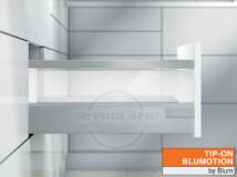 Blum TANDEMBOX Antaro D TIP-ON BLUMOTION világosszürke fiók átlátszó üveggel