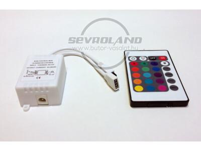 RGB (színváltós) LED vezérlő és infrás 24 gombos távirányító szett
