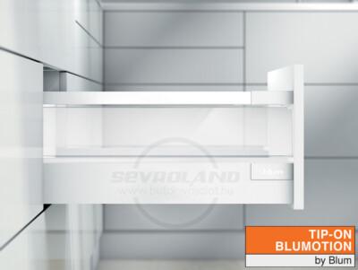 Blum TANDEMBOX Antaro D TIP-ON BLUMOTION selyemfehér fiók átlátszó üveggel